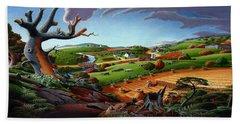 Appalachian Fall Thanksgiving Wheat Field Harvest Farm Landscape Painting - Rural Americana - Autumn Hand Towel