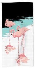 Pink Flamingos Tropical 1980s Abstract Pop Art Nouveau Graphic Art Retro Stylized Florida Print Bath Towel