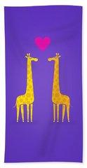 Cute Cartoon Giraffe Couple In Love Purple Edition Bath Towel