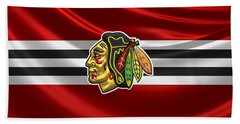 Chicago Blackhawks - 3 D Badge Over Silk Flag Bath Towel