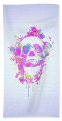 Cool And Trendy Pink Watercolor Skull Hand Towel
