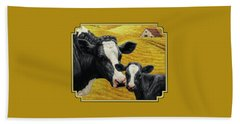 Holstein Cow And Calf Farm Hand Towel