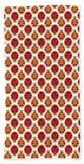 Ladybug Pattern In Orange And Red Bath Towel