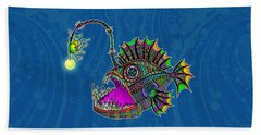 Electric Angler Fish Hand Towel by Tammy Wetzel