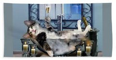 Funny Pet Print With A Tipsy Kitty  Bath Towel