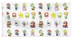 Mario Characters In Watercolor Hand Towel