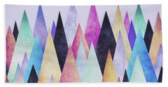 Colorful Abstract Geometric Triangle Peak Woods  Hand Towel
