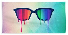 Love Wins Rainbow - Spectrum Pride Hipster Nerd Glasses Bath Towel