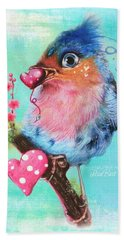 Hand Towel featuring the mixed media Love Bird by Sheena Pike