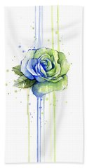 Seattle 12th Man Seahawks Watercolor Rose Bath Towel