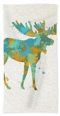 Moose Watercolor Art Bath Towel