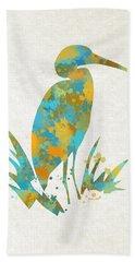 Heron Watercolor Art Hand Towel