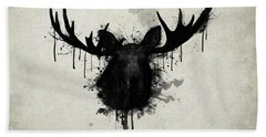 Hand Towel featuring the drawing Moose by Nicklas Gustafsson