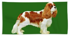 Hand Towel featuring the painting Cavalier King Charles Spaniel by Marian Cates