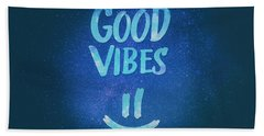 Good Vibes  Funny Smiley Statement Happy Face Blue Stars Edit Bath Towel