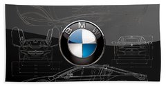 B M W  3 D  Badge Over B M W I8 Silver Blueprint On Black Special Edition Hand Towel