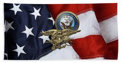 U. S. Navy S E A Ls Trident Over American Flag  Hand Towel