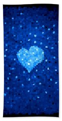 Winter Blue Crystal Heart Hand Towel