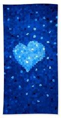 Winter Blue Crystal Heart Hand Towel