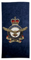 Royal Australian Air Force -  R A A F  Badge Over Blue Velvet Hand Towel