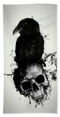 Hand Towel featuring the mixed media Raven And Skull by Nicklas Gustafsson