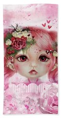 Hand Towel featuring the drawing Rosie Valentine - Munchkinz Collection  by Sheena Pike