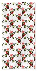 Cardinal On Ivy Branch With Hummingbird And Pink Lily Hand Towel