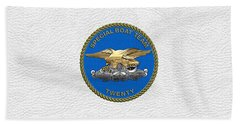 U. S. Navy S W C C - Special Boat Team 20   -  S B T 20   Patch Over White Leather Bath Towel