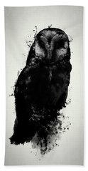 Hand Towel featuring the mixed media The Owl by Nicklas Gustafsson