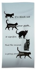 Black Cat Crossing Bath Towel by Ivana Westin