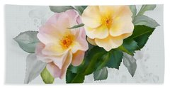 Two Wild Roses Bath Towel