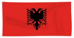 Hand Towel featuring the digital art Flag Of Albania Authentic Version by Bruce Stanfield
