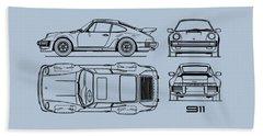 The 911 Turbo Blueprint Bath Towel