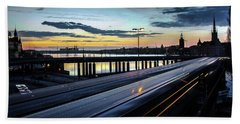 Bath Towel featuring the photograph Stockholm Night - Slussen by Nicklas Gustafsson
