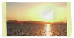 Solitary Sailboat Hand Towel by Felipe Adan Lerma
