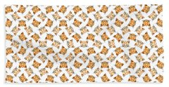 Cute Orange Tabby Cat Face Hand Towel