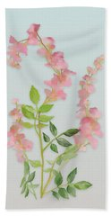 Bath Towel featuring the painting Pink Tiny Flowers by Ivana Westin