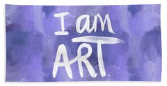I Am Art Painted Blue And White- By Linda Woods Hand Towel