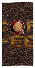 Bath Towel featuring the painting Coffee Funny Typography by Georgeta Blanaru