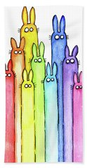 Bunny Rabbits Watercolor Rainbow Hand Towel by Olga Shvartsur