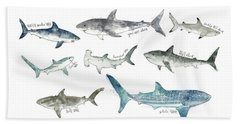 Sharks - Landscape Format Hand Towel by Amy Hamilton