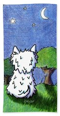 Night Sky Westie Hand Towel