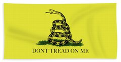 Hand Towel featuring the digital art Gadsden Dont Tread On Me Flag Authentic Version by Bruce Stanfield