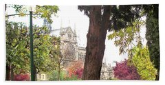 Hand Towel featuring the photograph Notre Dame From Square Rene Viviani by Felipe Adan Lerma