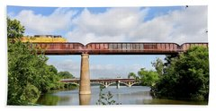 Train Across Lady Bird Lake Hand Towel by Felipe Adan Lerma