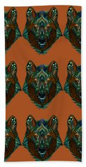 Zentangle Inspired Art- Wolf Colored Bath Towel