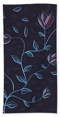 Glowing Blue Abstract Flowers Hand Towel