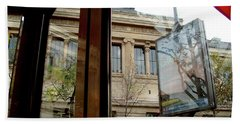 Hand Towel featuring the photograph Paris Cafe Views Reflections by Felipe Adan Lerma