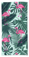 Tropical Pink Flamingo Hand Towel