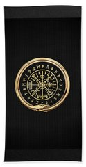 Vegvisir - A Magic Icelandic Viking Runic Compass - Gold On Black Bath Towel